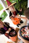 Halloween: Girls Excited To Get Halloween Treats — Foto de Stock