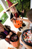 Halloween: Girls Excited To Get Halloween Treats — Стоковое фото