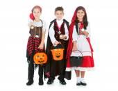 Halloween: Kids Using Flashlights on Halloween — Stock Photo