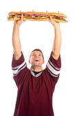 Football: Fan Is Ready To Eat Giant Sandwich — Stock Photo