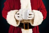 Santa: Holding a White Gift Box — Stockfoto