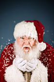 Santa: Santa Claus Blowing Snow — Stock Photo