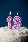 Cake: Birthday Cake With Candles For16th Birthday — Stockfoto