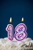 Cake: Birthday Cake With Candles For 18th Birthday — Stockfoto