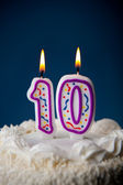 Cake: Birthday Cake With Candles For 10th Birthday — Stockfoto