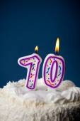 Cake: Birthday Cake With Candles For 70th Birthday — Stock Photo