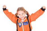 Occupations: Little Girl Dressed As Astronaut — Stockfoto