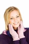 Winter: Pretty Woman With Gloved Hands By Face — Stock Photo