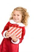 Christmas: Happy Holiday Child Holding Wrapped Gift — Stockfoto
