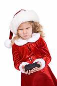 Christmas: Girl Gets Coal From Santa For Bad Behavior — Stock Photo