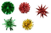Christmas: Variety Of Isolated Foil Gift Bows — Foto Stock