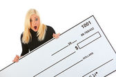 Casual: Woman Surprised With Amount Of Check — Foto Stock