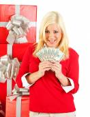 Christmas: Woman Holds Fanned Out Cash For Christmas — Foto Stock