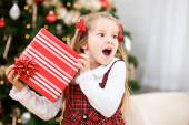 Christmas: Young Girl Thinks She Knows What Is Inside Present — Foto Stock