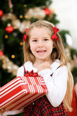 Christmas: Girl Excited To Receive Christmas Present — Foto Stock