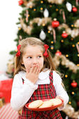 Christmas: Little Girl Wants To Eat Santa's Cookies — Foto Stock