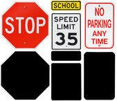 Signs: Stop, Speed Limit and No Parking Signs with Alpha Channel — Stock Photo