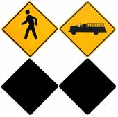 Signs: Pedestrian and Fire Truck Warning Signs with Alpha Channe — Foto Stock