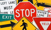 Signs: Montage Of Various Traffic Signs — Foto Stock
