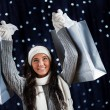 Winter: Holding Up Shopping Bags — Stock Photo #57590965