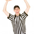 Referee: Ref Holds Huge Sandwich in Air — Stock Photo #57596323