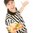 Referee: Holding Plate of Sandwiches — Stock Photo #57596331