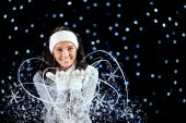Winter: Girl with Magical Snow — Stockfoto
