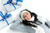 Winter: Snowy Girl with Christmas Gifts — Stockfoto