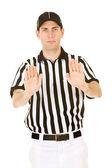 Referee: Signalling Pass Interference — Stockfoto