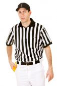 Referee: Serious Ref with Penalty Flag — Stockfoto