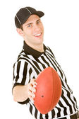 Referee: Holding Football — Stockfoto