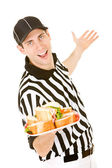 Referee: Holding Plate of Sandwiches — Stockfoto