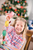 Christmas: Young Girl Proud Of Craft Paper Chain Garland — Stockfoto