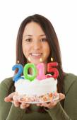 NYE: Focus On Woman Holding 2015 Birthday Cake — Stockfoto