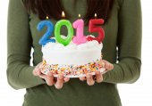 "NYE: Candles On Cake Spell Out ""2015"" — Stockfoto"