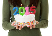 "NYE: Candles On Cake Spell Out ""2015"" — Zdjęcie stockowe"