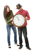 NYE: Couple Waiting For Clock To Hit Midnight — Stockfoto