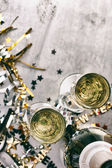 NYE: Champagne To Celebrate New Year On Grunge Background — Stockfoto