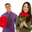 Valentine: Woman Holds Bouquet Of Dozen Roses — Stock Photo #61768903