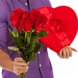 Valentine: Man With Holiday Gifts For Girlfriend — Stock Photo #61768933