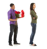 Valentine: Woman Ignoring Man With Romantic Gifts — Stock fotografie