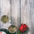 Valentine: Single Rose And Glasses Of Champage — Stock Photo #61770235