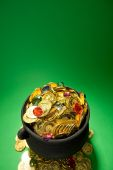 Pot of Gold: Coins and Jewels In Pot — Stock fotografie