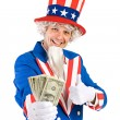 USA: Uncle Sam Holds Money Fan with Thumbs Up — Stock Photo #68271601