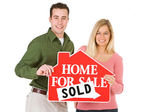 Moving: Couple Happy To Have Sold House — Stock Photo