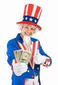 USA: Uncle Sam Holds Money Fan with Thumbs Up — Stok fotoğraf