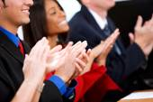 Business: Employees Applaud for Business Success — Stok fotoğraf