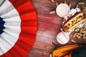 Baseball Background With Bunting, Beer, Ball And Hot Dog — Stock Photo