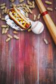 Baseball Background With Hot Dog, Ball And Bat — Stock Photo