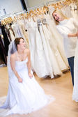 Bride: Woman Wearing Gown and Laughing At Friend — Stock Photo